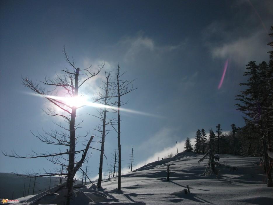 Новогоднее солнце над Ливадийским хребтом | Какого цвета новогодний снег