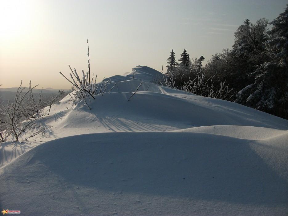 Снежная волна на вершине горы Туманной | г.Туманная (1230м, хр.Большой Воробей) 12.12.2010