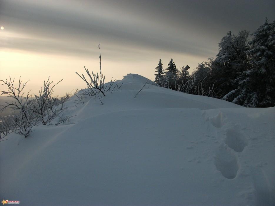 Уходим с вершины   г.Туманная (1230м, хр.Большой Воробей) 12.12.2010