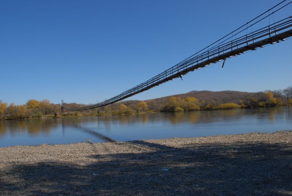 Подвесной мост через реку Большая Уссурка | Новопокровка Приморский Край