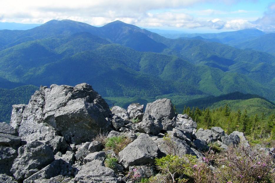 Вид с горы Ольховая на соседние вершины - горы Лысую и Белую   Горы