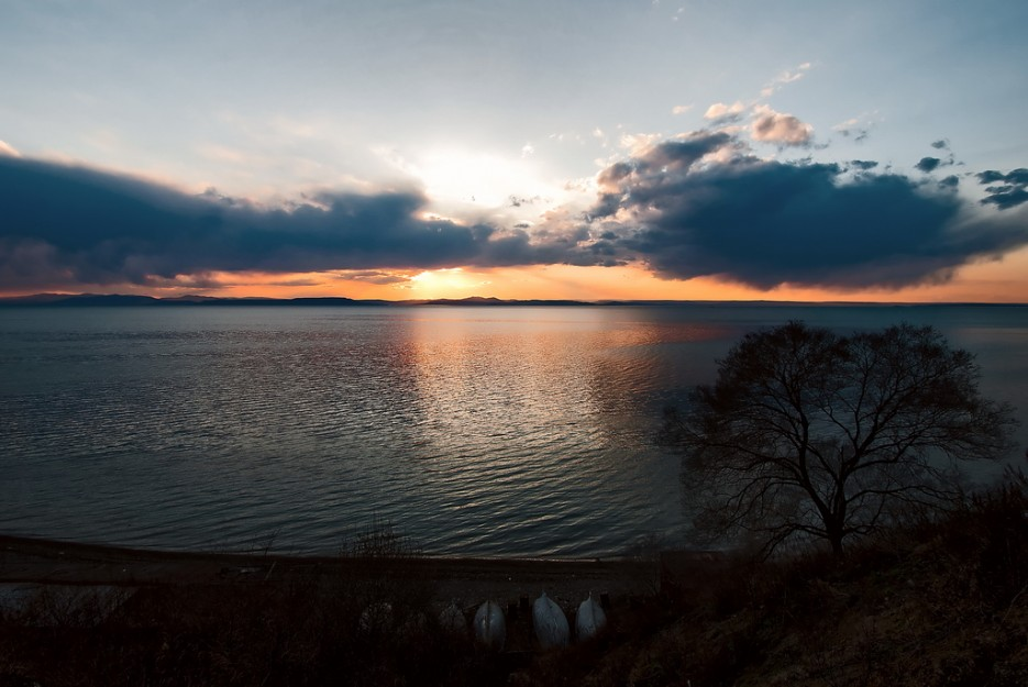 Закатное безмолвие. Недалеко от мыса Грозного, Амурский залив.   Природа Приморского края. Разное.