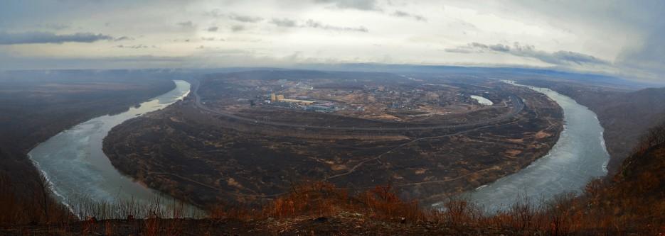 Панорама излучины реки Суйфйн (Раздольное). | Барановский вулкан. Надежденско-Уссурийский район.