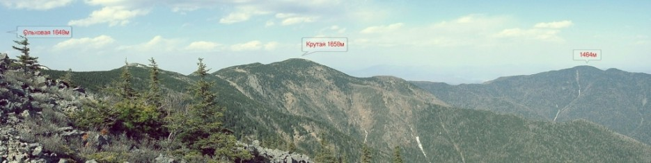 Направление движения от вершины горы Ольховая | Траверс г.Ольховая-г.Лысая