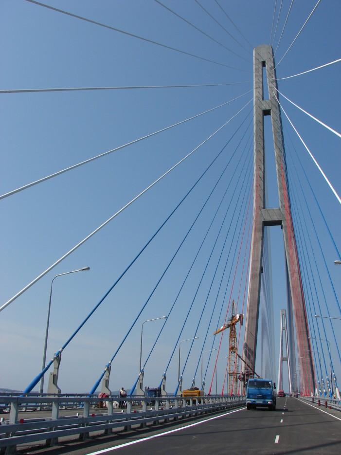 06.Пилон моста на остров Русский. | Мост на остров Русский.