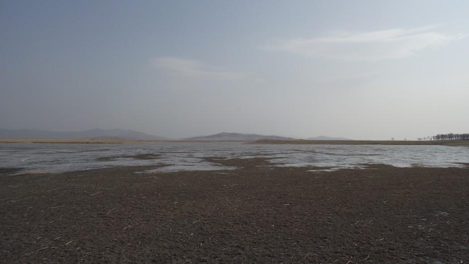 Гладкая равнина соленого льда отсюда и до самого моря   Ледовый поход Посьет - бухта Экспедиции - озеро Тальми - мыс Островок Фальшивый