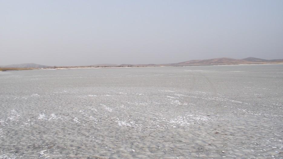 Лед покрыт коркой соли. | Ледовый поход Посьет - бухта Экспедиции - озеро Тальми - мыс Островок Фальшивый