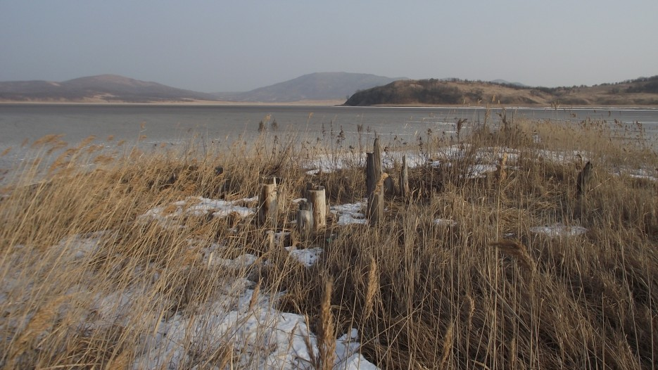 Соль вымораживается из соленой воды озера при последовательном вымораживании льда в трех резервуарах. Соленая вода разделяется на более пресный лед и концентрированный рассол, который стекает в следующий резервуар. В последнем резервуаре начинается кристаллизация соли. | Ледовый поход Посьет - бухта Экспедиции - озеро Тальми - мыс Островок Фальшивый