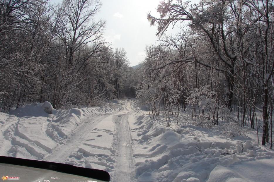 02.Дорога на гору после снегопада.   ЦАО «Пидан Сихотэ» 11-12  декабря 2010 года.