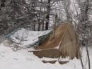Ночевка на вершине Фалазы. Палатка с печкой.
