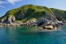 Скальные острова Таранцева в горловине бухты Витязь (бывшая Гамова)