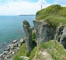 Вид с острова Сибирякова на мыс Брюса.