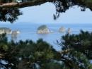 В обрамлении сосновых ветвей.   Кекуры Бакланьи, бухта Горшкова.