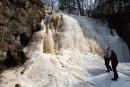 Вскрывшийся водопад Горбатый. Шкотовское плато. Шкотовский район.