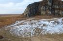 Человек на фоне горы Голубиный утёс