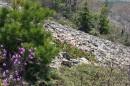 23.Спуск начался. Пробыв на вершине г.Лысый Дед один час. Посмотрев прекрасные виды с вершины, нафотографировались, позвонили близким, написали и оставили контрольную записку о подъеме и начали спуск.