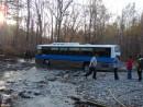 29.Автобус сел на пузо на броде. Вот такие автобусы возят туристов из г.Находки к подножью г.Ольховая. Тяжелый и низкий автобус сел на броде на р.Алексеевка. Вытолкать его туристам будет проблематично.